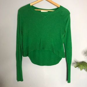 Anthropologie Yoon Emerald Green Cropped Sweater M